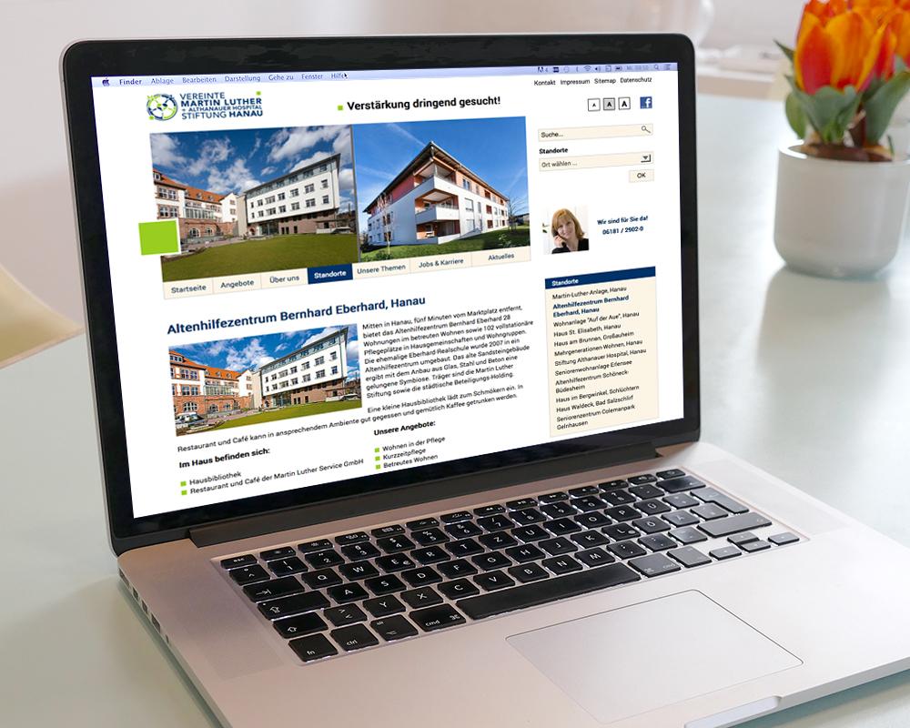 Responsive website für eine Seniorenresidenz