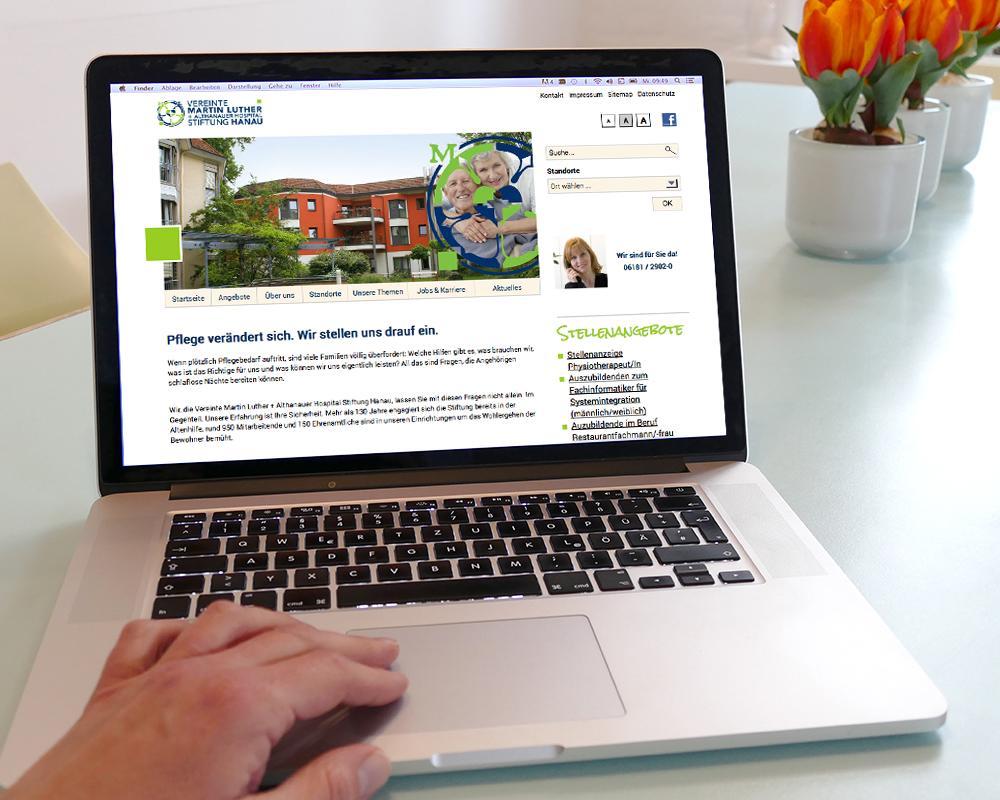 Website im Bereich Pflege von Senioren