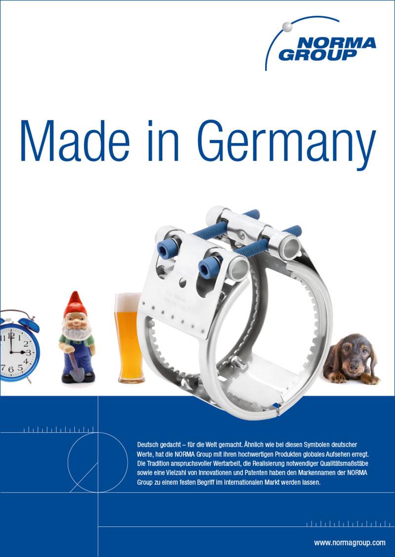 Das Plakat unterstreicht den Markennamen der NORMA Group zu einem festen Begriff im internationalen Markt