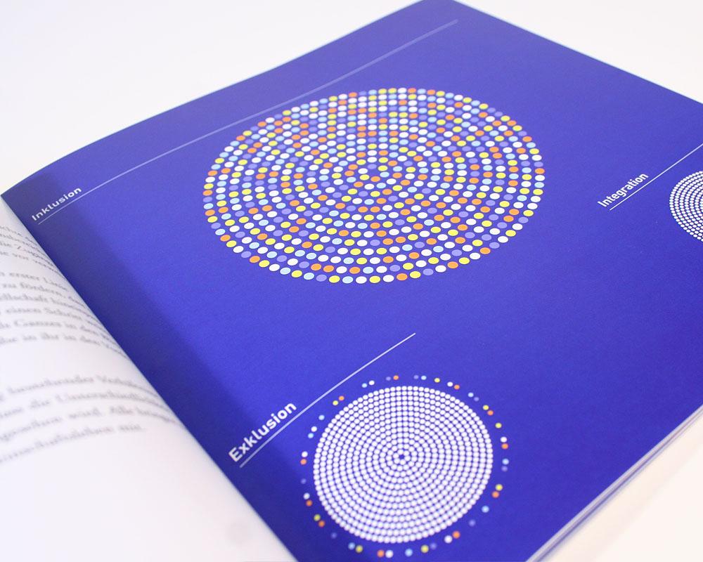Grafik aus Kreisen und Punkten zum Thema Inklusion