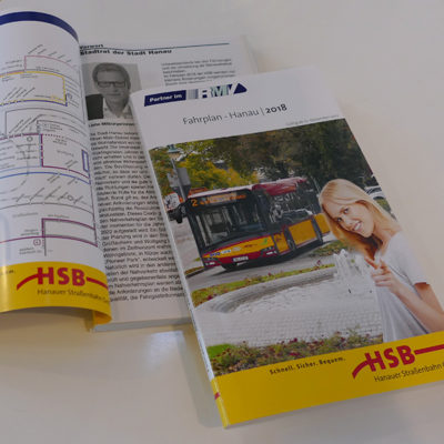 Fahrplan der Busverbindungen im Stadtgebiet Hanau
