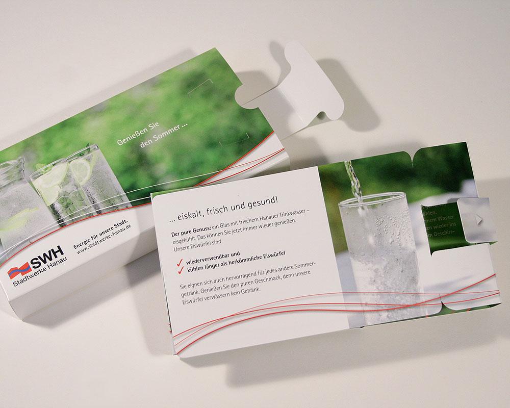 Eiswürfel Mailing für einen Energiedienstleister