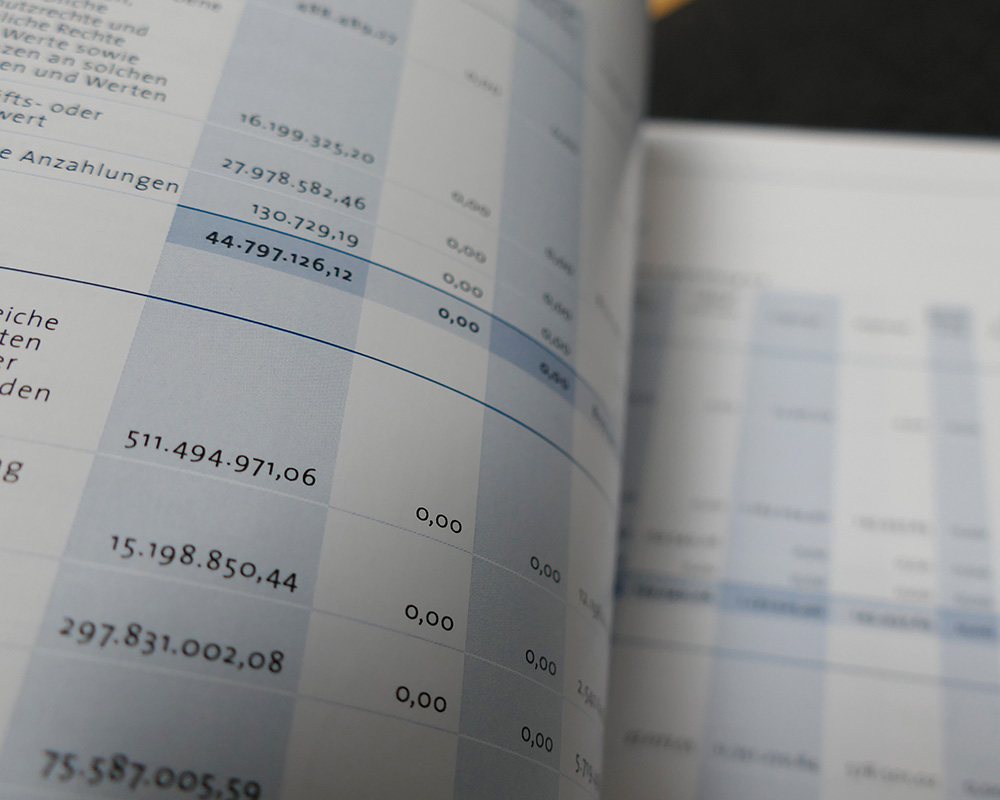 Geschäftsberichte Tabelle mit Aktiva & Passiva